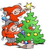 Vektor-Karikaturillustration glücklicher Elfe zwei verzieren den Weihnachtsbaum Lizenzfreie Stockfotografie