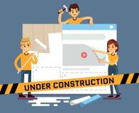 Vektor-Karikaturkonzept der Website im Bau mit Netzdesignern vektor abbildung
