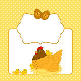 Vektor-Karten-Schablone mit Huhn, Henne und Eiern, Ostern-Karte Clipart Stockfotografie