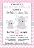 Vektor-Karten-Schablone mit netten Elefanten für Baby-Dusche lizenzfreie abbildung