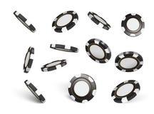 Vektor-Kasinochips, lokalisiert auf Weiß Chips des Kasinospiels 3D On-line-Kasinofahne Schwarzer realistischer Chip spielen Stockbild