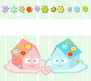 Vektor, kleine Häuser des Spielzeugs - Freunde, Mädchen und Junge Stockfotos
