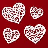 Vektor klippta ut pappers- lacy hjärtor Fotografering för Bildbyråer