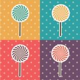 Vektor-Knall Art Style Lolipop Set Illustration Lizenzfreies Stockbild