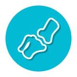Vektor-Kniegelenk innerhalb einer Kreis-Linie Ikone Stock Abbildung