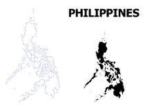 Vektor-Kontur punktierte Karte von Philippinen mit Namen lizenzfreie abbildung