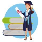 Vektor-Konzept-Illustrations-Karikatur-glückliche Studenten lizenzfreie abbildung