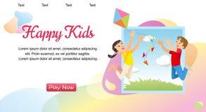 Vektor-Konzeptbild, das glückliche Kinder spielt vektor abbildung