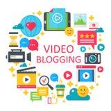 Vektor-Konzeptillustration des Videos blogging flache Plakat, Schablone für Netz Lizenzfreies Stockbild