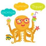 Vektor-Kraken-Tentakel Vektor-Kraken-Zeichentrickfilm-Figur-Illustration Sommer-Reise-Illustrations-Maskottchen Lizenzfreie Stockbilder