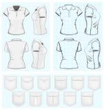 Kvinna mallar för polo-skjorta design vektor illustrationer