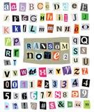 Vektor-Lösegeld-Anmerkung #1- schnitt Papierbuchstaben, Zahlen, Symbole Stockfotos