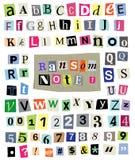 Vektor-Lösegeld-Anmerkung #1- schnitt Papierbuchstaben, Zahlen, Symbole Stockfoto