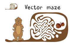 Vektor-Labyrinth, Labyrinth mit Murmeltier und Nuss Stockfotografie