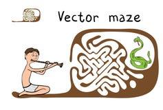 Vektor-Labyrinth, Labyrinth mit Schlange und Fakir Stockfoto