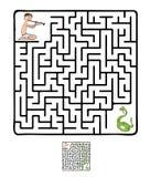 Vektor-Labyrinth, Labyrinth mit Schlange und Fakir Stockfotografie
