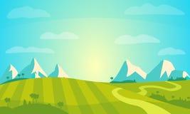 Vektor-Landschaft mit Sunny Field und Bergen Ländliche Bauernhof-Landschafts-Illustration Stockbild