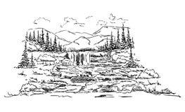 Vektor - Landschaftwasserfall