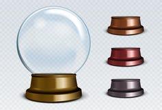 Vektor-leerer Schnee-Kugel-Satz Weißer transparenter Glasbereich Lizenzfreie Stockfotos