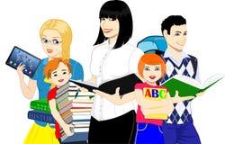 Vektor-Lehrer und Schulkinder und -studenten Lizenzfreies Stockbild