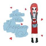 Vektor-Liebe die Einkaufsmode-Illustration mit einem netten bunten Mode-Mädchen Lizenzfreie Stockfotos