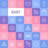 Vektor-Linie Art Baby Icons Set Lizenzfreie Stockbilder