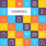 Vektor-Linie Art Commerce Icons Set Lizenzfreie Stockfotografie