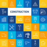 Vektor-Linie Art Construction Icons Set Lizenzfreie Stockfotografie