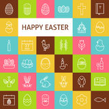Vektor-Linie Art Happy Easter Icons Set Lizenzfreie Stockfotos