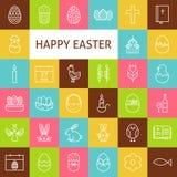 Vektor-Linie Art Happy Easter Icons Set Lizenzfreie Stockfotos