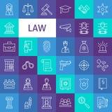 Vektor-Linie Art Law und Gerechtigkeit Icons Set Stockfotos