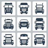 Vektor-LKW-Ikonen eingestellt: Vorderansicht Stockbild