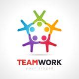 Vektor Logo Template för symbol för teamworkbegreppsfolk Royaltyfri Foto