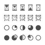 Vektor lokalisierte Sanduhr- und Uhrikonen eingestellt Stockbilder
