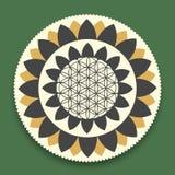 Vektor Lotus Mandala mit Blume des Leben-Symbols Stockbilder