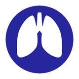 Vektor-Lungen innerhalb einer Kreis-Ikone Stock Abbildung
