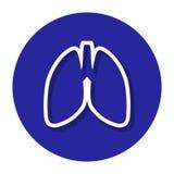 Vektor-Lungen innerhalb einer Kreis-Linie Ikone Lizenzfreie Abbildung