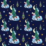 Vektor-lustiger Schneemann, der Weihnachtsbäume verziert Stockfotografie