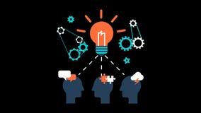 Vektor M för animering för innovation för ljus kula för idékläckningaffärsidé genomskinlig royaltyfri illustrationer