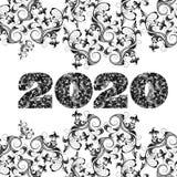 Vektor 2020 M och lyckligt nytt år royaltyfri illustrationer