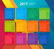 Vektor mall för 2017 år kalenderdesign Royaltyfria Bilder