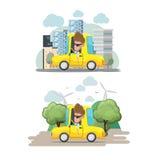 Vektor Mann-Fahrer-Yellow Car Citys Eco vektor abbildung