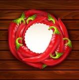 Vektor med glödhet chilipeppar som förläggas i en cirkel och en runda Royaltyfri Bild