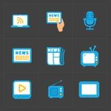 Vektor-Medien-Ikonen eingestellt auf dunklen Hintergrund Stockfoto