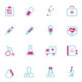 Vektor medizinisch und Gesundheitslinie Ikonen Stockfotografie