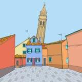 Vektor Mehrfarbige Häuser und ein Glockenturm stock abbildung