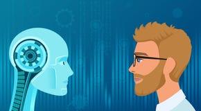 Vektor-Menschen gegen Roboteropposition Konzeptgeschäft und Zukunftjobillustration stock abbildung