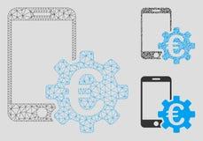 Vektor Mesh Carcass Model för konfiguration för mobil bank för euro och mosaisk symbol för triangel stock illustrationer