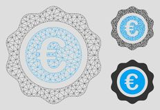 Vektor Mesh Network Model för kvalitets- skyddsremsa för euro och mosaisk symbol för triangel vektor illustrationer
