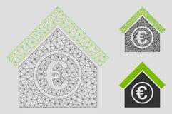 Vektor Mesh Wire Frame Model för finansiell mitt för euro och mosaisk symbol för triangel vektor illustrationer